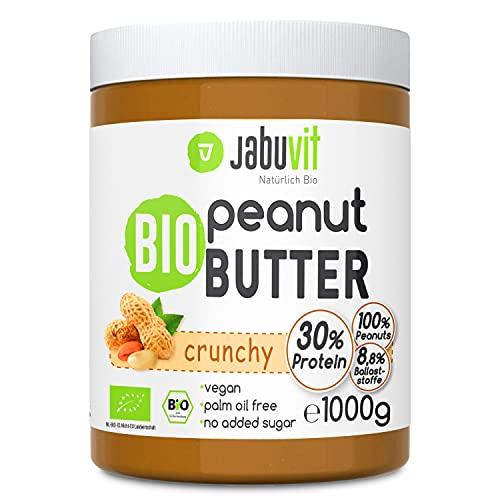 JabuVit Peanut Butter, 1000g köstliche Erdnussbutter in Bio Qualität, Ohne Zuckerzusatz, Ohne Palmöl, 30g Veganes Protein, 8g Ballaststoffe, BIO-Inhaltsstoffe, Made in Germany (Crunchy, 1)