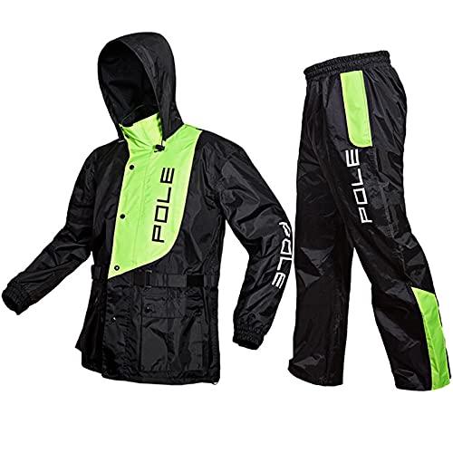 HSGAV Motorrad Motorradfahrer Regenanzug Unisex Regenbekleidung, Regenanzug Wasserdicht Atmungsaktiv mit Reflexstreifen,Grün,XXL