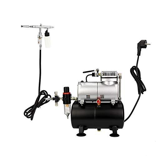 Huanhog Airbrush Kompressor Doppel Airbrush Tattoo-Set 0,35/0,25 mm Düse Pneumatische Airbrush Kombination Set für Nägel Tattoos und anderes Handwerk