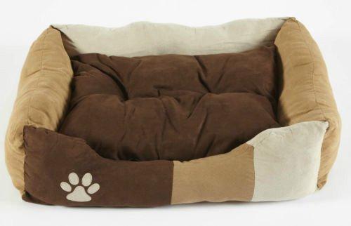 Bunny Business - Cama para Perro de Piel sintética, Muy Suave, tamaño Extra Grande, 106,7cm, Color marrón/Blanco