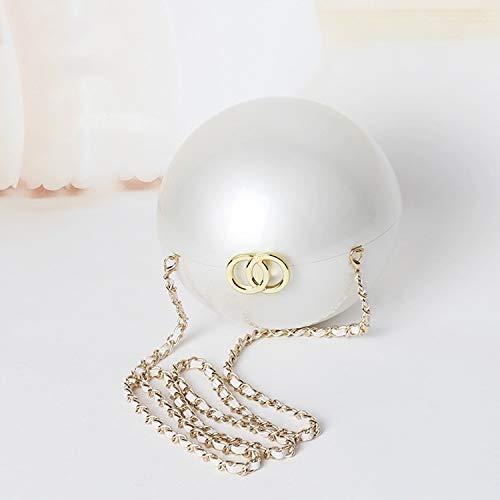 HMG Mini Diagonal Cena Cadena de acrílico Perla Bolsa, Diámetro: 15 cm
