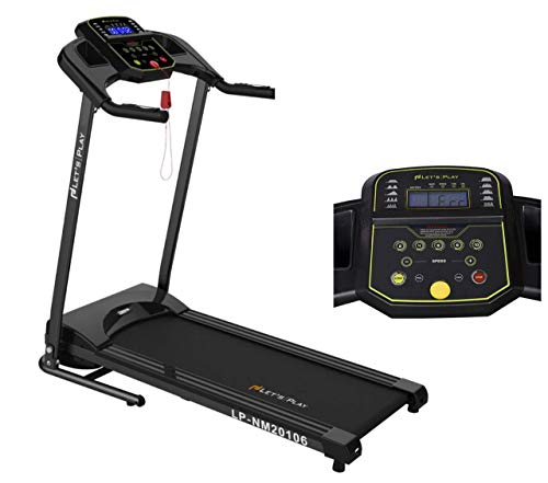 Lets Play LP-NM20106 Automatic Hydraulic Foldable Motorized Treadmill for Home Use 1.5HP Motor (Peak 3HP, Black)