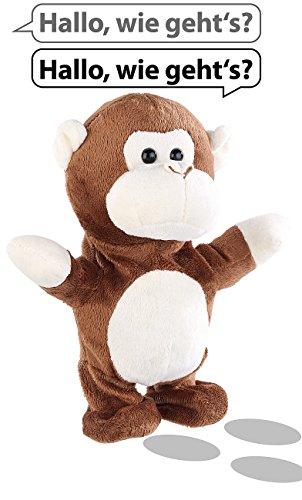 Playtastic Sprechende Tiere: Sprechender Plüsch-AFFE mit Mikrofon, spricht nach und läuft, 22 cm (Sprechende Tiere Spielzeug)