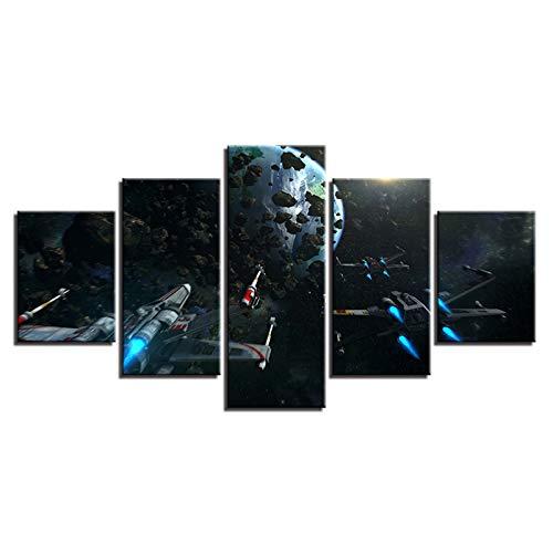 DFGGE Impresiones En Lienzo HD Arte De La Pared Carteles Cuadros Modulares Pinturas 5 Panel Cartel Planetas Y Aviones Moderno Salón Decoración para El Hogar