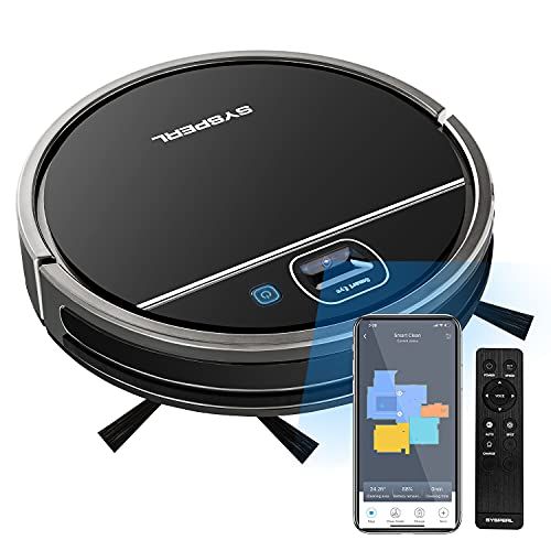 Robot Vacuum Cleaner,SYSPERL V50 Robotic Vacuum Cleaner with Vision Navigation,Super-Thin,Quiet,Wi-Fi Connect,Voice Control .1800Pa Strong Suction,Good for Pet Hair,Hard Floors and Low Pile Carpet.