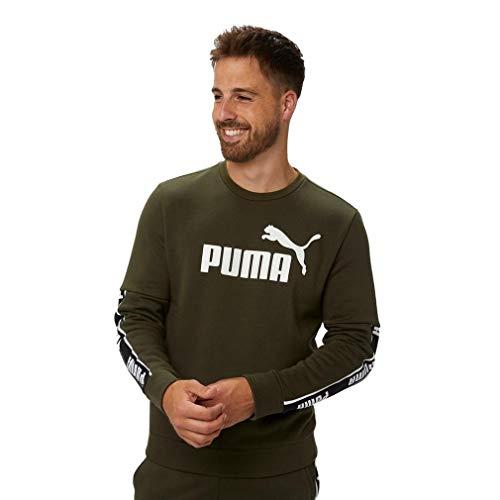 Puma Amplified Fleece Crew - Sudadera para hombre, color caqui y verde Verde verde (Forest green) S