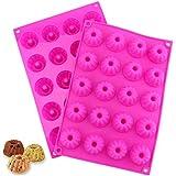 20 cavidades mini molde de silicona, NALCY 3DMolde de silicona para hornear cubitos de hielo bandeja de chocolate 30 x 20 x 2,2 cm, color rosa (2PCS)