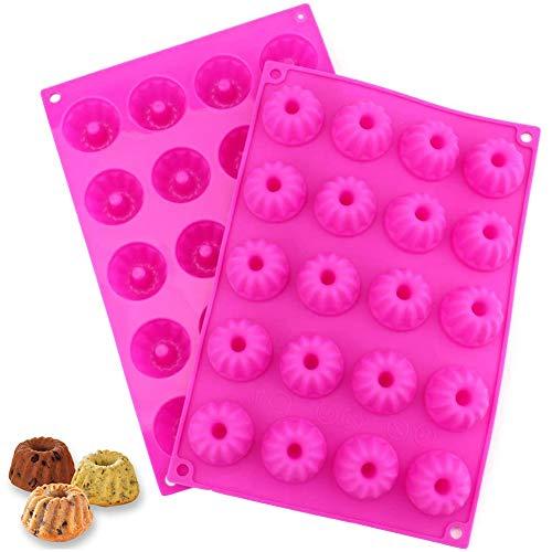 Mini Gugelhupfform, NALCY Mini Muffinform, Kuchenform Silikon, Hurrikan-Kuchenform, Kuchenform Klein Silikon für Muffins, Cupcakes, Brownies, Kuchen, Pudding(2PCS)