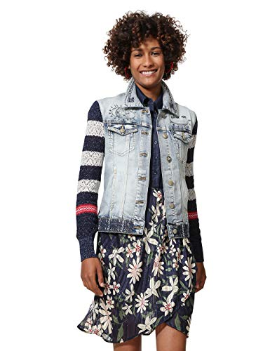 Desigual Denim and Knit Jacket Sailor Lover Chaqueta Vaquera, Azul Medium Dark 5161, 46 (Talla del Fabricante: 44) para Mujer