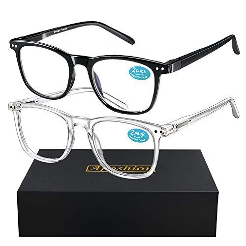 Blaulichtfilter Brille 2 Pack, Blauelicht Brille, Gaming Brille UV400 Hochtransparenten Linsen Computerbille, Gegen Augenmüdigkeit/Kopfschmerzen TV und PC Brille, Antireflex Lesebrille für Frauen/Män