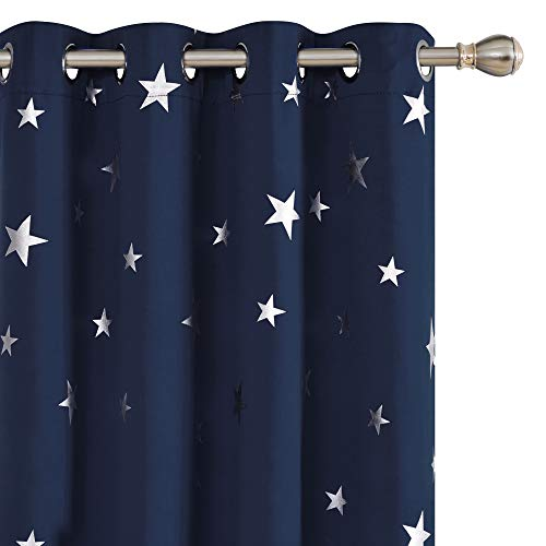 Deconovo Solid Thermal Insulated Blackout Curtains with Silver Star Pattern 38 x 45 Inch Navy Blue 1 Pair