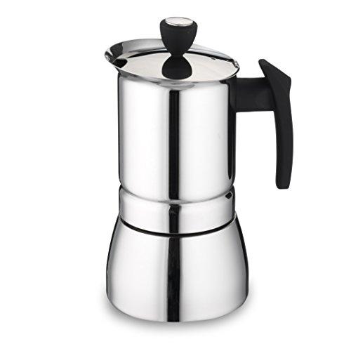 Café Olé Italienischer Espressokocher aus Edelstahl – 6 Mokkatassen, 240ML, Silber, für Induktionskochfeld geeignet