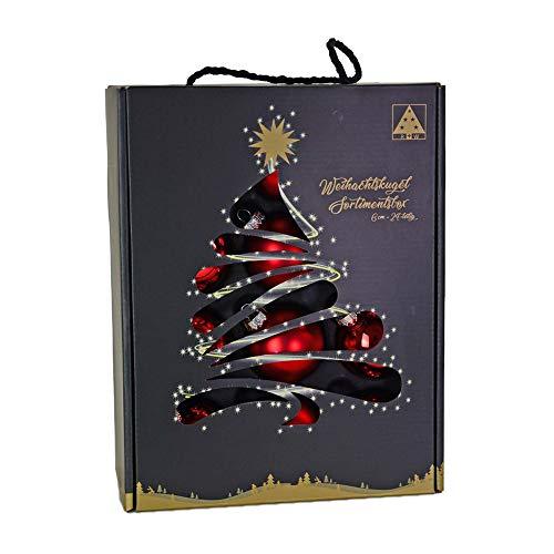 Riffelmacher & Weinberger 26252 - bombki bożonarodzeniowe zestaw 24 sztuk, czerwone, 12 x matowe, 12 x błyszczące, średnica 6 cm, opakowanie bez PCV, bombki na choinkę, Boże Narodzenie