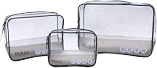 DUKAP 3 Piece Lightweight Packing Cube Set with TSA Approved, Travel Makeup Organizer with PVC Clear and Waterproof Packin...