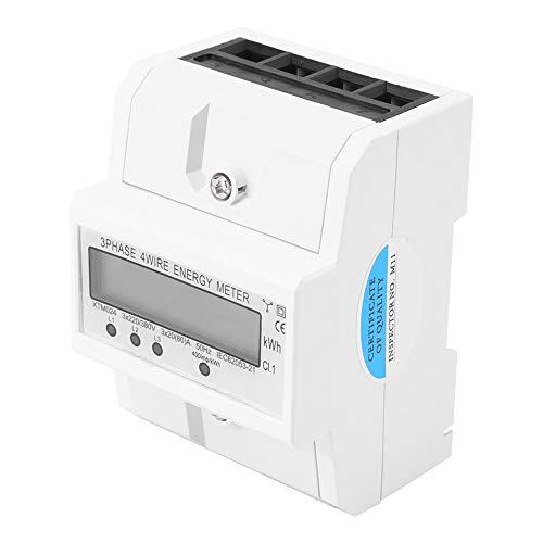 Stromzähler - Digital LCD 3 x 20 (80A) Dreiphasen-Vierdraht-DIN-Schiene KWh Elektronischer Energiezähler