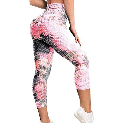 Pantalones Cortos de Yoga para Mujer Pantalones Cortos de Gimnasio de Cintura Alta Con Estampado Deportivo Pantalones Cortos de Ciclismopara Correr Leggings de Entrenamiento con Control de Barriga