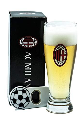 Generico Bicchiere Birra Tifoso Milan con Stemma Rossonero, Prodotto Ufficiale, Bicchiere capacità 415ML, con Apribottiglie Calamita, Completo di Scatola