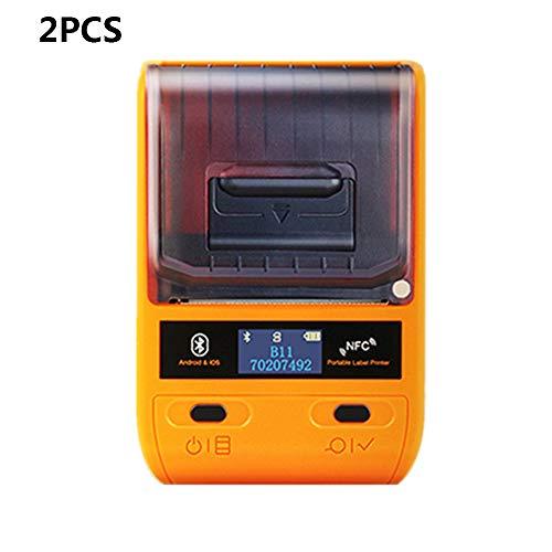 ZUKN Portable Thermique Étiquette Imprimante Téléphone Bluetooth Barcode Printer Étiquette De Prix Réception Ticket Machine d'impression Dispositif pour Pos Supermarché Restaurant 2 Pièces