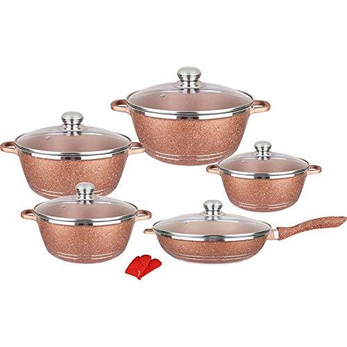 JIAOSHUAIYU Utensilios de cocina Juego de utensilios de cocina antiadherentes Dorado