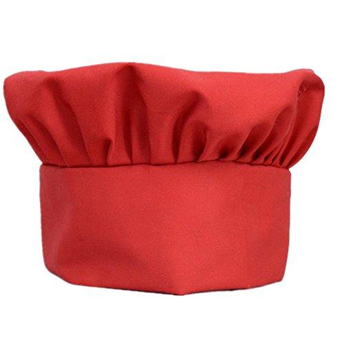 MoGist Kochmütze für Kinder, verstellbar, elastisch, für Partys, Küche, BBQ, Bäcker, Koch, Kochmütze, Eltern-Kind, Rot