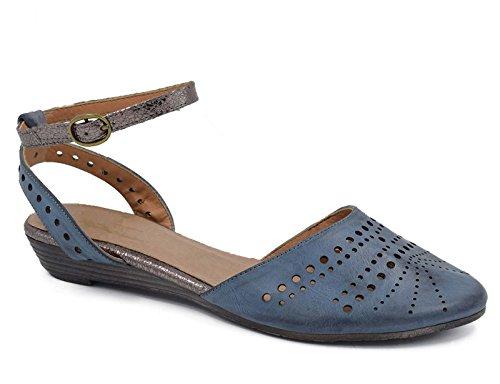 Greatonu-Sandalias de Cuña Baja con Hebilla y Tira Trasera para Mujer