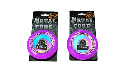 Metal Core Pack 2 Ruedas Rueda Disc para Scooter Freestyle, Diámetro 100 mm (Violeta)