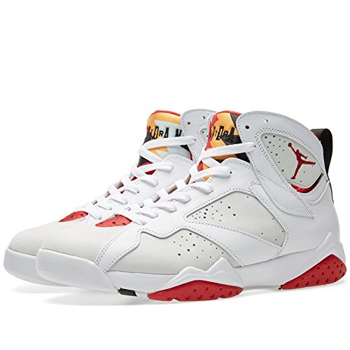 Nike Air Jordan 7 Retro, Scarpe da Fitness Uomo, Bianco/Rosso/Argentato (White/True Red-Lght Slvr-Trmln-), 49 EU