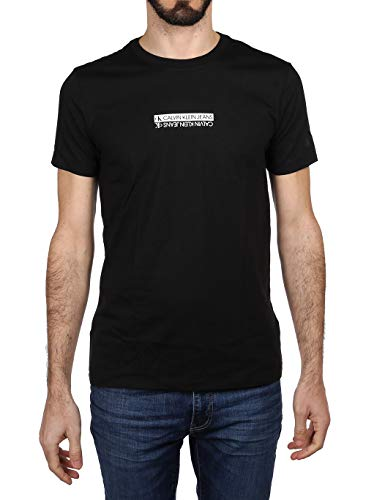 Calvin Klein Jeans Mirror Logo Slim Fit Tee T-Shirt, CK Nero, L Uomo