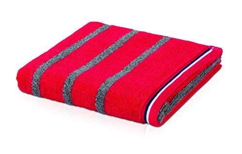 möve Athleisure Duschtuch Doubleface gestreift 80 x 150cm aus 85% Baumwolle / 15% Polyester, ketchup/grey
