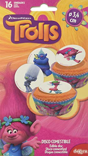 Dekora - 12 Mini Disco Comestible de Trolls la Pelicula para Cupcakes, Muffins o Magdalenas de 3,4 cm de Diametro
