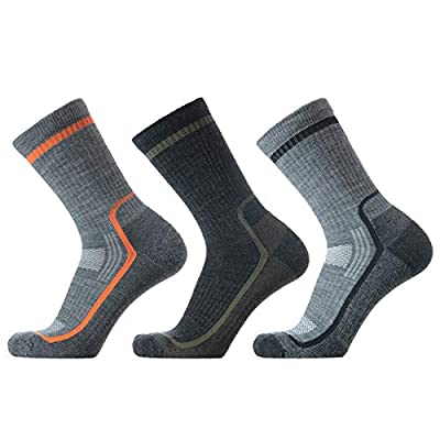 SOLAX 72% Men's Merino Wool Hiking Socks, Outdoor Trail Crew Socks 3 Pack