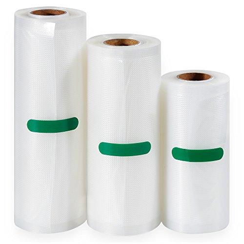 Anpro 3 Volúmenes de Diferentes Tamaños de Bolsas de Vacío de Alimentos,Pake de 3 Rollos 12 x500cm,17x500cm y 22x500cm