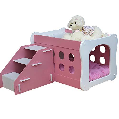 QNMM Indoor Hundehütte Haustier Doppeldeckerhaus mit Treppenhaus Holzhaus Hübsche Terrasse Kennel Haustierhaus Geeignet für kleine Katzen und Hunde zum Ausruhen,Pink