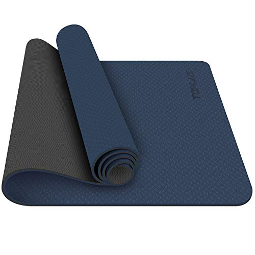 TOPLUS Yoga Mat - Classic 1/4 inch Pro Yoga Mat Eco Friendly Non Slip Fitness Exercise Mat with Carrying Strap-Workout Mat for Yoga, Pilates and Floor Exercises (navy blue)