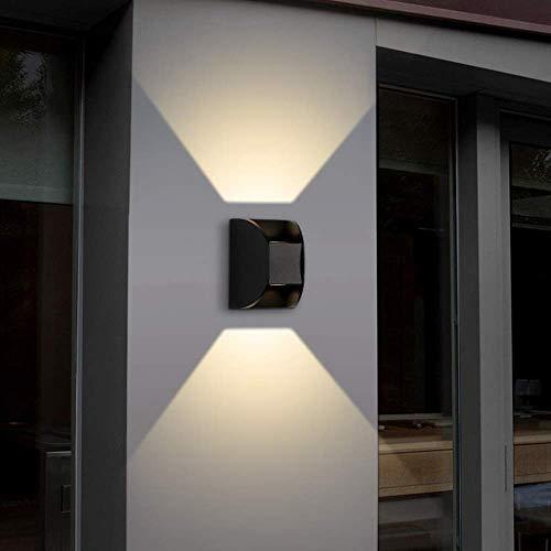QIDOFAN - Lámpara de techo para interiores y exteriores, color negro, luz cálida, resistente al agua, lámpara de pared, para dormitorio, mesita de noche, 12,4 x 9 x 8,5 cm E