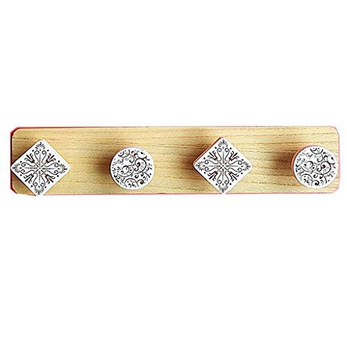 Zelfklevende wandkapstok van hout, moderne decoratieve multifunctionele wandrek met haken, zonder boren, voor entree, badkamer, woonkamer, keukenkast