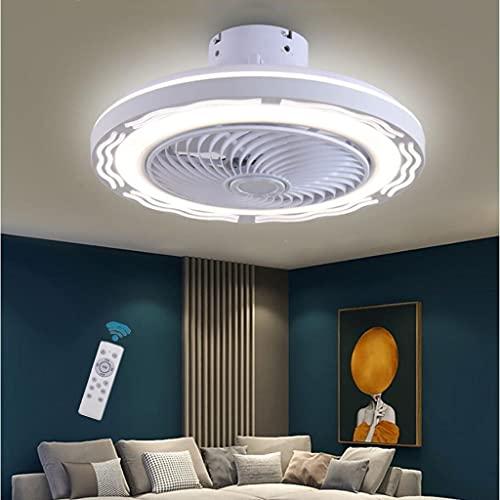 WJLL Ventilador de Techo LED Moderno con luz de Techo Regulable con Ventilador silencioso Control Remoto y Temporizador Velocidad del Viento Ajustable Lámpara de Ventilador de Techo Invisible,Blanco