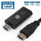 PORTHOLIC Wii zu HDMI Adapter, 1080P/720P HD Konverter mit 1m HDMI Kabel und 3,5mm Buchse Compatibel für Nintendo Wii, Audioausgang,TV Monitor Beamer Fernseher