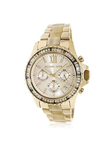 Michael Kors Everest Light Champagne Dial Gold-tone and Horn Acetate Ladies W.
