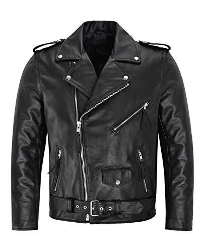 Herren Brando Bikerjacke Motorrad Echtes Rindsleder Herren Perfecto Motorrad Classic Biker Fashion Lederjacke (XL)