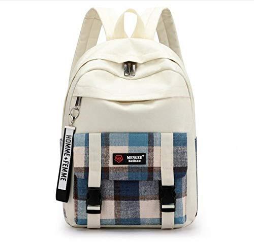 bbzzaa Mädchen Rucksack Schultaschen für Teen Rucksack Frauen Big Canvas Plaid Streifen College Student Bagpack Mixed Colors
