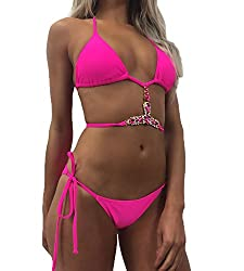 Crystal Padded Rose Red-S Triangle Bikini Set Tie Side Bottom