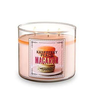 Bath and  Body Works Raspberry Peach Macaron 3 Wick 14.5 Ounces Scented Candle Sweet Shop Collection