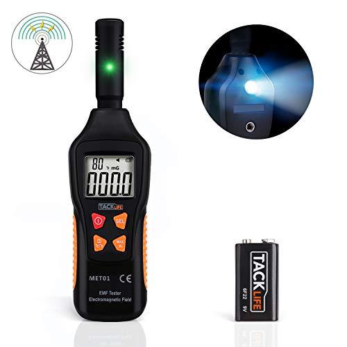Medidor EMF, TACKLIFE Detector de Radiación, 5HZ - 3500MHz con LCD Digital, Alarma de Luz y Sonido, para Probar Radiación de Campo Magnético, Campo Eléctrico y Temperatura Ambiente - MET01