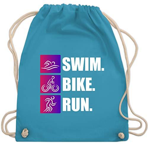 Sonstige Sportarten - Swim. Bike. Run. - Unisize - Hellblau - triathlon beutel - WM110 - Turnbeutel und Stoffbeutel aus Baumwolle