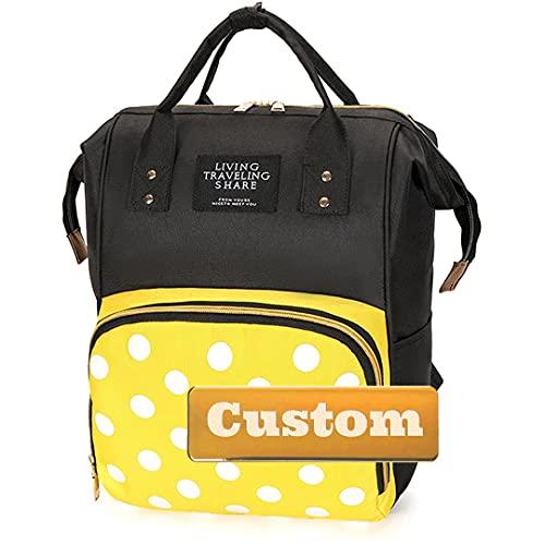ZZMGDAM Personalisierte name jappiertasche windel tasche baby mädchen windel windel wasserdichte junge geschenk groß (Color : Huang-dabodian, Size : One size)