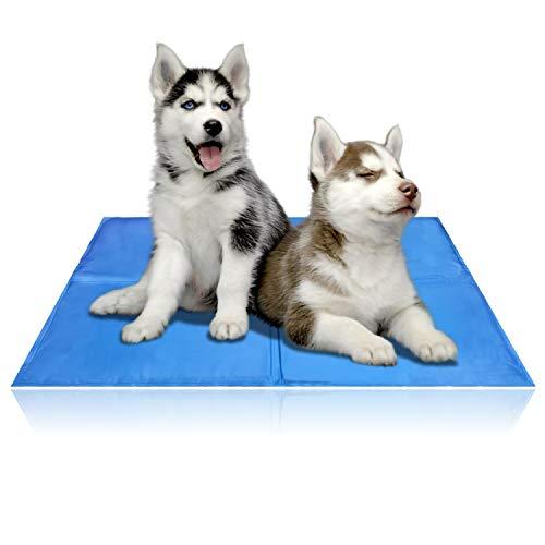 Hengda Kühlmatte Hunde Katzen XL 100x70cm (LxW) Kuhlmatte Für Hunde und Katzen Kühlkissen Kühl Hundedecke Kaltgelpad für Katzen und Hunde Selbstkühlende Matte(4 Größe)