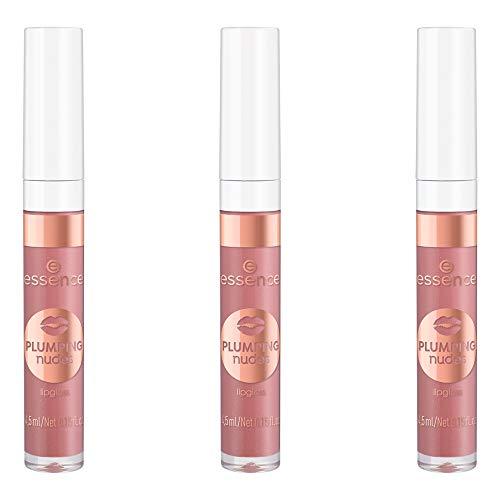 essence PLUMPING nudes lipgloss, Lip Gloss, Nr. 03 she's so extra, nude, vergrößernd, scheinend, schimmernd, vegan, entspricht unserem CLEAN BEAUTY Standard, ölfrei, 3er Pack (3 x 4,5ml)