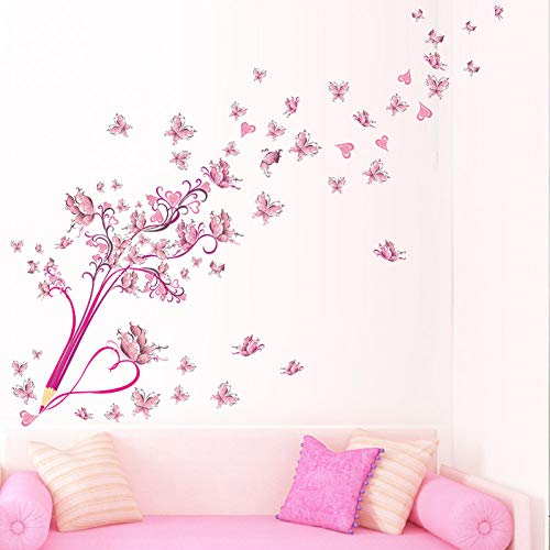 XMDNYE Fliegende rosa buttrfly Blume blüte Bleistift Baum abnehmbare Wohnzimmer mädchen Schlafzimmer wandaufkleber DIY wohnkultur Aufkleber wandbild