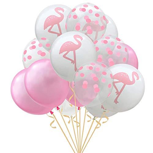 JinSu 15 Stück Dekorationen Luftballons für Kinder, Flamingo Muster Ballons und Punkt Latex Ballons für Kinder Geburtstagsfeier, Kindertag, Baby Dusche (Flamingo)
